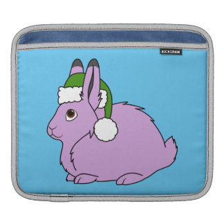 Light Purple Arctic Hare with Green Santa Hat Sleeve For iPads