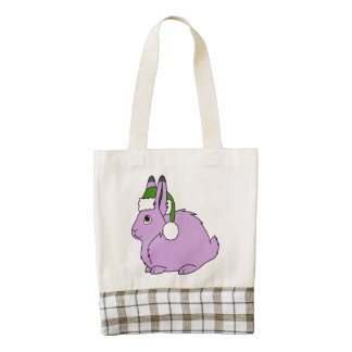 Light Purple Arctic Hare with Green Santa Hat Zazzle HEART Tote Bag