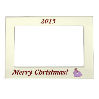 Light Purple Arctic Hare with Red Santa Hat Picture Frame Magnet