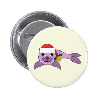 Light Purple Baby Seal - Santa Hat & Gold Bell 2 Inch Round Button