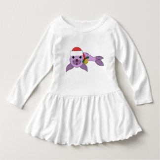 Light Purple Baby Seal - Santa Hat & Gold Bell Dress