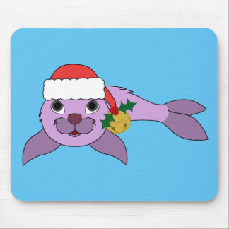 Light Purple Baby Seal - Santa Hat & Gold Bell Mouse Pad