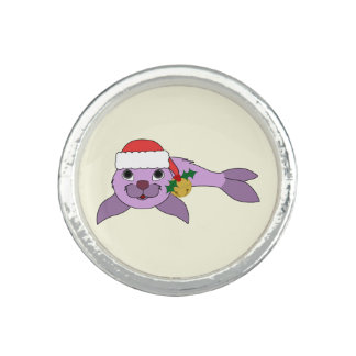 Light Purple Baby Seal - Santa Hat & Gold Bell Photo Ring