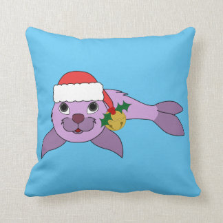Light Purple Baby Seal - Santa Hat & Gold Bell Throw Pillow