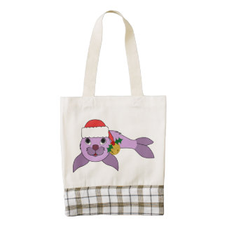 Light Purple Baby Seal - Santa Hat & Gold Bell Zazzle HEART Tote Bag