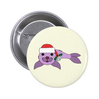 Light Purple Baby Seal - Santa Hat & Silver Bell 2 Inch Round Button