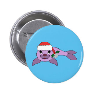 Light Purple Baby Seal - Santa Hat & Silver Bell Button