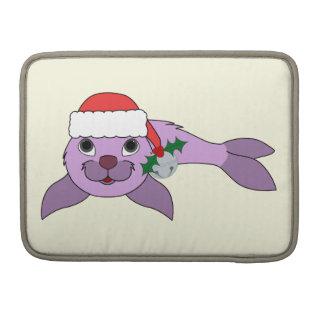Light Purple Baby Seal - Santa Hat & Silver Bell MacBook Pro Sleeve