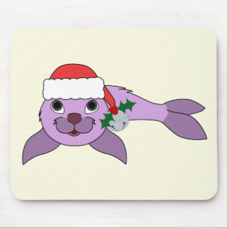 Light Purple Baby Seal - Santa Hat & Silver Bell Mouse Pad