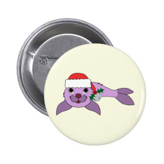 Light Purple Baby Seal - Santa Hat & Silver Bell Pinback Button