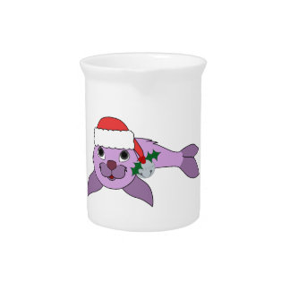 Light Purple Baby Seal - Santa Hat & Silver Bell Pitcher