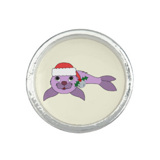 Light Purple Baby Seal - Santa Hat & Silver Bell Ring