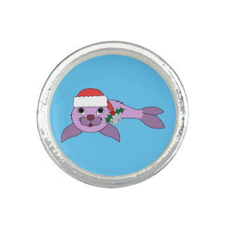Light Purple Baby Seal - Santa Hat & Silver Bell Rings