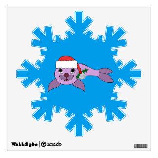 Light Purple Baby Seal - Santa Hat & Silver Bell Wall Sticker