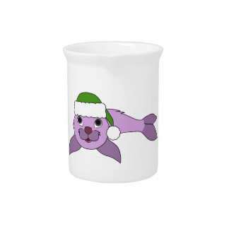 Light Purple Baby Seal with Green Santa Hat Beverage Pitchers