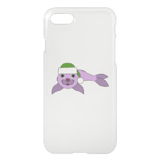 Light Purple Baby Seal with Green Santa Hat iPhone 8/7 Case