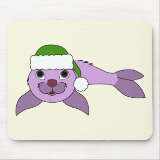 Light Purple Baby Seal with Green Santa Hat Mouse Pad