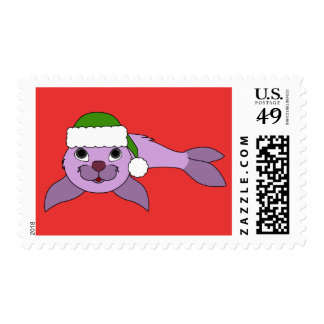 Light Purple Baby Seal with Green Santa Hat Postage