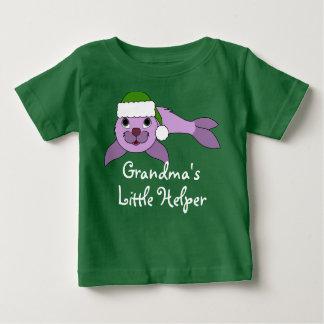 Light Purple Baby Seal with Green Santa Hat Shirt