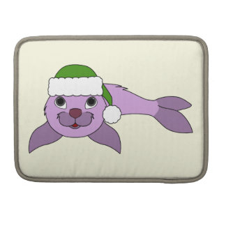 Light Purple Baby Seal with Green Santa Hat Sleeve For MacBook Pro
