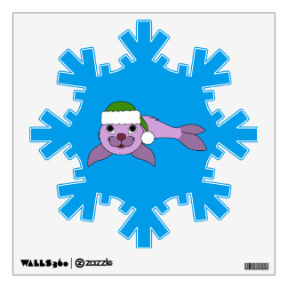 Light Purple Baby Seal with Green Santa Hat Wall Decal