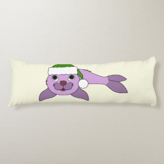 Light Purple Baby Seal with Red Santa Hat Body Pillow