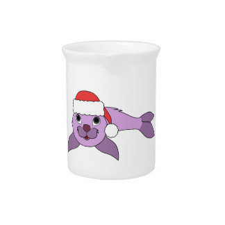Light Purple Baby Seal with Red Santa Hat Drink Pitchers