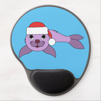 Light Purple Baby Seal with Red Santa Hat Gel Mouse Pad