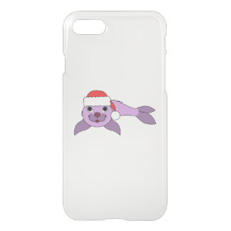 Light Purple Baby Seal with Red Santa Hat iPhone 8/7 Case