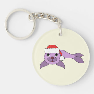 Light Purple Baby Seal with Red Santa Hat Keychain