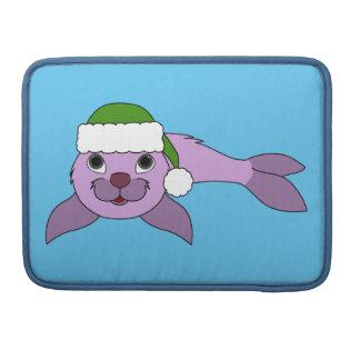 Light Purple Baby Seal with Red Santa Hat MacBook Pro Sleeves
