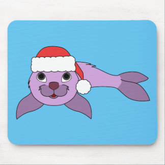 Light Purple Baby Seal with Red Santa Hat Mouse Pad