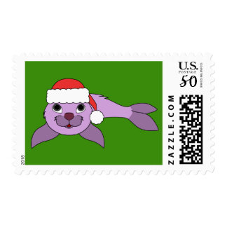 Light Purple Baby Seal with Red Santa Hat Postage