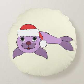 Light Purple Baby Seal with Red Santa Hat Round Pillow