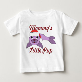 Light Purple Baby Seal with Red Santa Hat Shirt