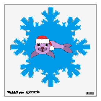 Light Purple Baby Seal with Red Santa Hat Wall Sticker