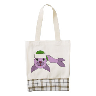 Light Purple Baby Seal with Red Santa Hat Zazzle HEART Tote Bag