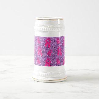Light purple ballet slippers glitter pattern 18 oz beer stein
