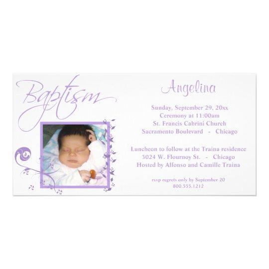 Light Purple Baptism Photo Invitation