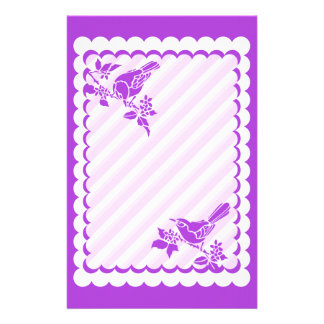 Light Purple Birds With Diagonal Stripes Stationery