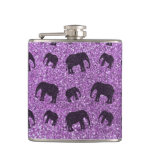 Light purple elephant glitter pattern hip flask