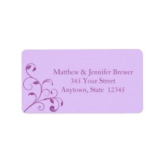 Light Purple Floral Curls Envelope Address Labels