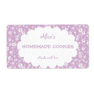 Light Purple Floral Personalized Homemade Cookies Label