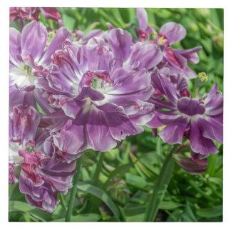 Light purple flowers ceramic photo tile