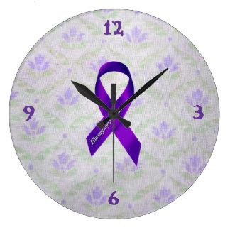 Light Purple Flowers Fibromyalgia Awareness Clocks