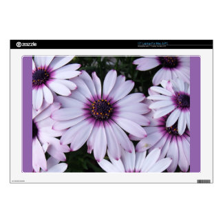 Light Purple Flowers with Purple Background Decals For Laptops