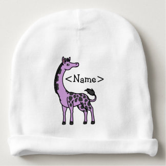 Light Purple Giraffe with Black Spots Baby Beanie
