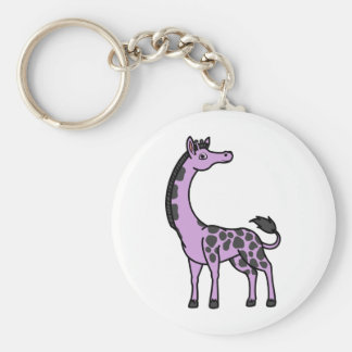 Light Purple Giraffe with Black Spots Basic Round Button Keychain