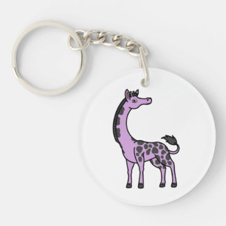 Light Purple Giraffe with Black Spots Single-Sided Round Acrylic Keychain