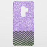 "Light Purple Glitter Black Chevron Accent Uncommon Samsung Galaxy S9 Plus Case<br><div class=""desc"">Simple modern light purple faux glitter texture print with black and green chevron accent.</div>"